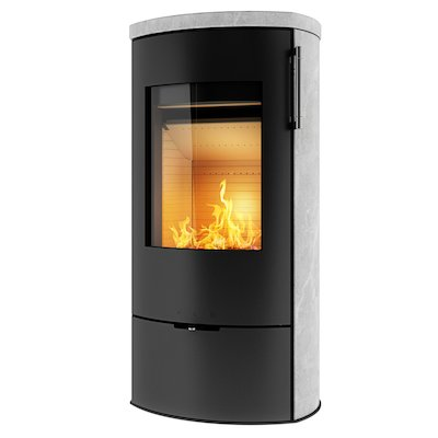 Rais Poleo II Wood Stove Black Metal Framed Door