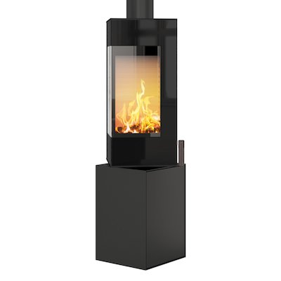 Rais Q-BE Wood Stove Black Black Glass Framed Door Rotating Pedestal