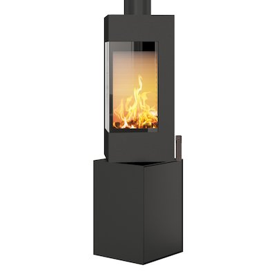 Rais Q-BE Wood Stove Black Metal Framed Door Rotating Pedestal