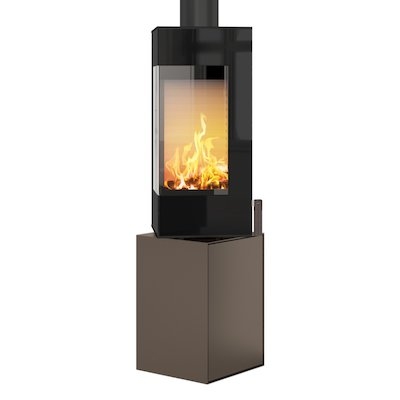 Rais Q-BE Wood Stove Mocha Black Glass Framed Door Rotating Pedestal