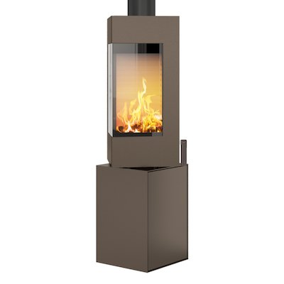 Rais Q-BE Wood Stove Mocha Metal Framed Door Rotating Pedestal