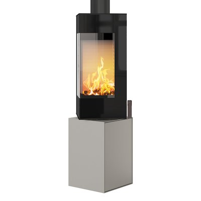 Rais Q-BE Wood Stove Nickel Black Glass Framed Door Rotating Pedestal