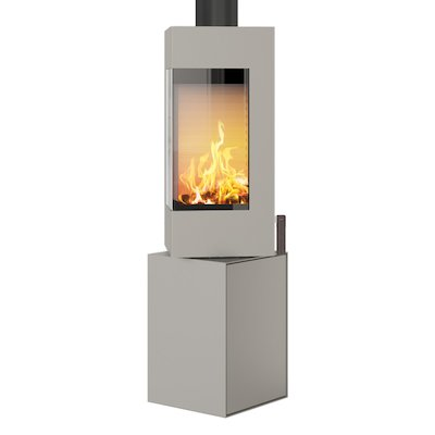 Rais Q-BE Wood Stove Nickel Metal Framed Door Rotating Pedestal