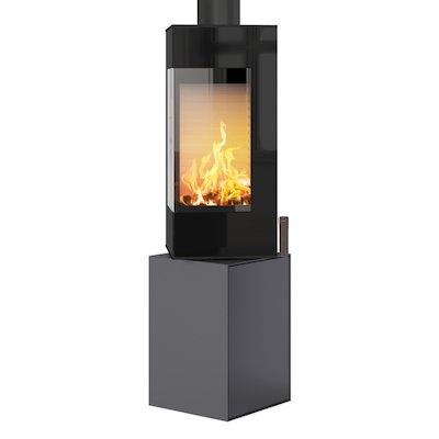 Rais Q-BE Wood Stove Platinum Black Glass Framed Door Rotating Pedestal