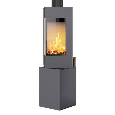 Rais Q-BE Wood Stove Platinum Metal Framed Door Rotating Pedestal