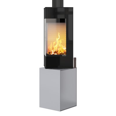 Rais Q-BE Wood Stove Silver Black Glass Framed Door Rotating Pedestal