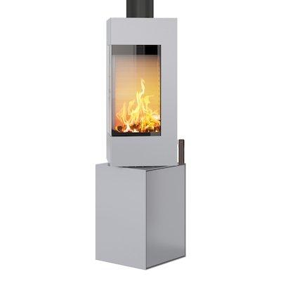 Rais Q-BE Wood Stove Silver Metal Framed Door Rotating Pedestal