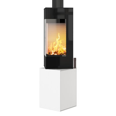 Rais Q-BE Wood Stove White Black Glass Framed Door Rotating Pedestal