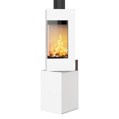 Rais Q-BE Wood Stove White Metal Framed Door Rotating Pedestal