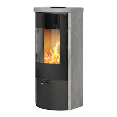 Rais Rina Wood Stove Black/Soapstone Black Glass Framed Door