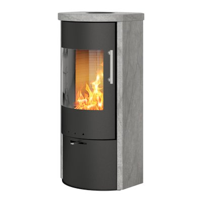 Rais Rina Wood Stove Black/Soapstone Metal Framed Door