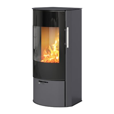 Rais Rina Wood Stove Platinum Black Glass Framed Door
