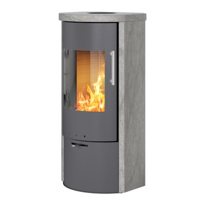 Rais Rina Wood Stove Platinum/Soapstone Metal Framed Door