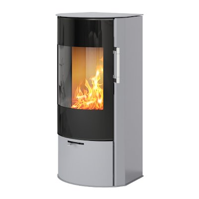 Rais Rina Wood Stove Silver Black Glass Framed Door