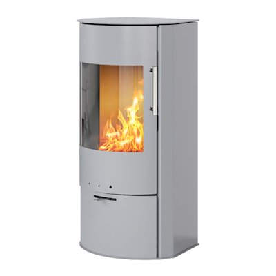 Rais Rina Wood Stove Silver Metal Framed Door