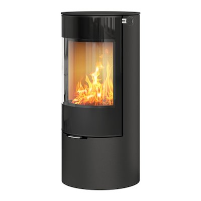 Rais Viva 100L Wood Stove Black Black Glass Framed Door Solid Sides