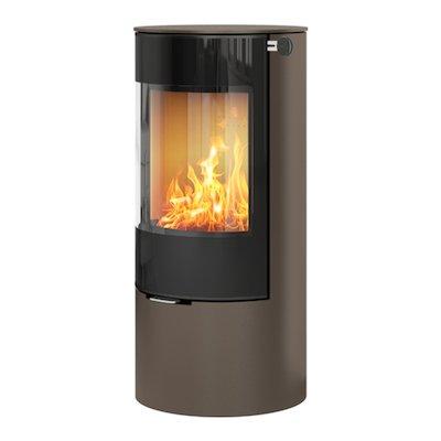 Rais Viva 100L Wood Stove Mocha Black Glass Framed Door Solid Sides