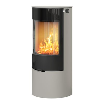 Rais Viva 100L Wood Stove Nickel Black Glass Framed Door Solid Sides
