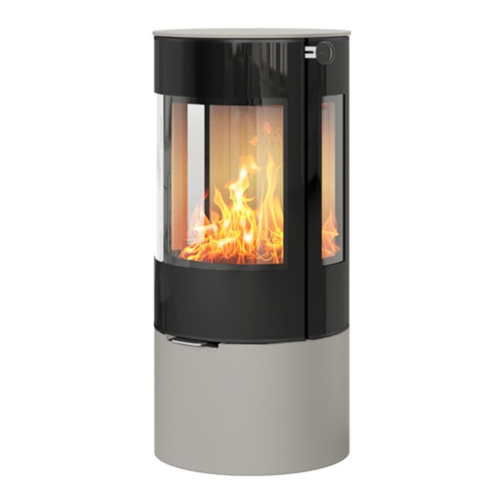 Rais Viva 100L Wood Stove Nickel Black Glass Framed Door Side Glass Windows - Nickel