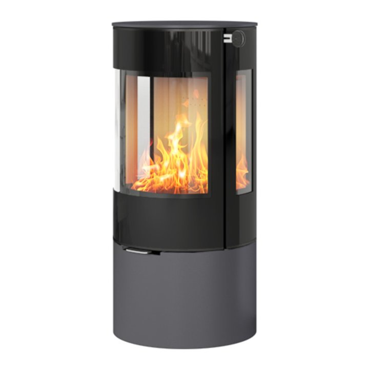 Rais Viva 100L Wood Stove Platinum Black Glass Framed Door Side Glass Windows - Platinum