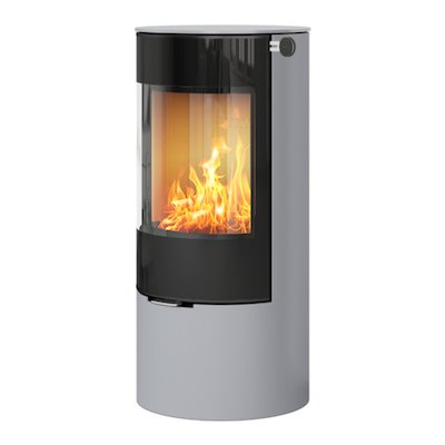 Rais Viva 100L Wood Stove Silver Black Glass Framed Door Solid Sides