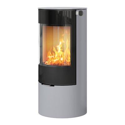 Rais Viva 100L Wood Stove Silver Black Glass Framed Door Solid Sides