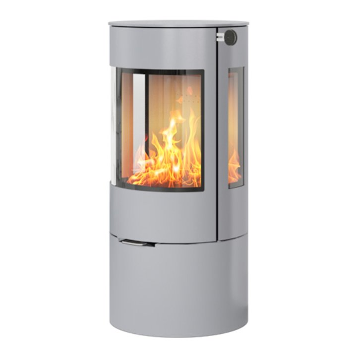 Rais Viva 100L Wood Stove Silver Metal Framed Door Side Glass Windows - Silver Filigree
