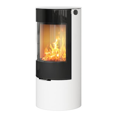 Rais Viva 100L Wood Stove White Black Glass Framed Door Solid Sides