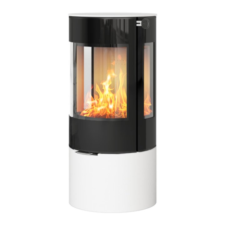 Rais Viva 100L Wood Stove White Black Glass Framed Door Side Glass Windows - White