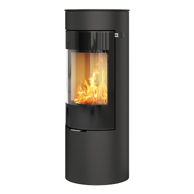 Rais Viva 120L Wood Stove Black Black Glass Framed Door Solid Sides