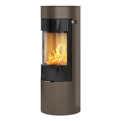 Rais Viva 120L Wood Stove Mocha Black Glass Framed Door Solid Sides
