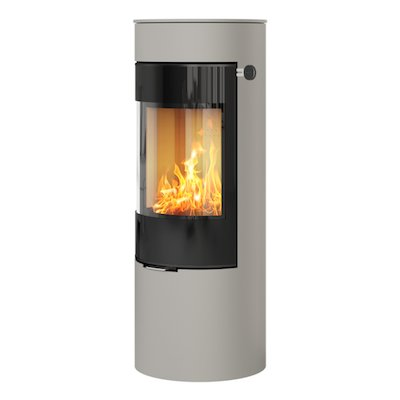 Rais Viva 120L Wood Stove Nickel Black Glass Framed Door Solid Sides