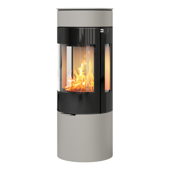 Rais Viva 120L Wood Stove Nickel Black Glass Framed Door Side Glass Windows - Nickel