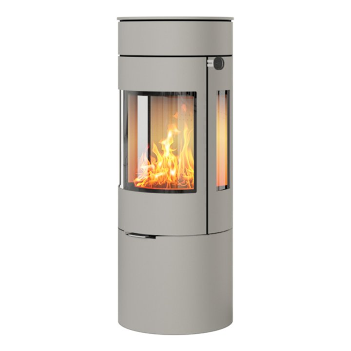 Rais Viva 120L Wood Stove Nickel Metal Framed Door Side Glass Windows - Nickel