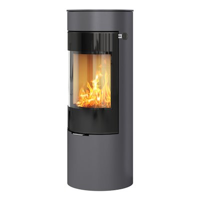 Rais Viva 120L Wood Stove Platinum Black Glass Framed Door Solid Sides