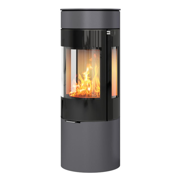 Rais Viva 120L Wood Stove Platinum Black Glass Framed Door Side Glass Windows - Platinum