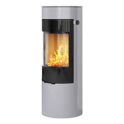 Rais Viva 120L Wood Stove Silver Black Glass Framed Door Solid Sides