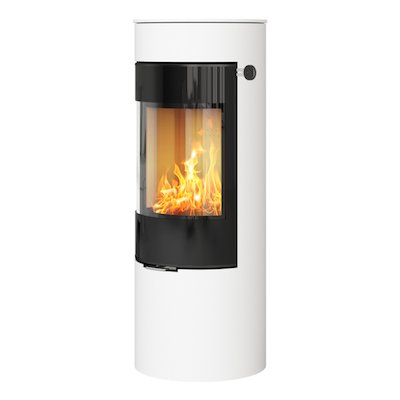 Rais Viva 120L Wood Stove White Black Glass Framed Door Solid Sides