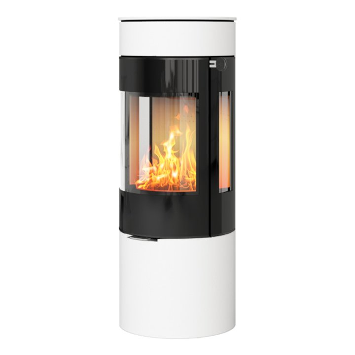 Rais Viva 120L Wood Stove White Black Glass Framed Door Side Glass Windows - White