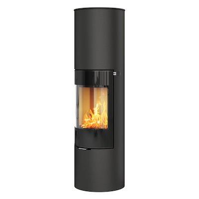 Rais Viva 160L Wood Stove Black Black Glass Framed Door Solid Sides