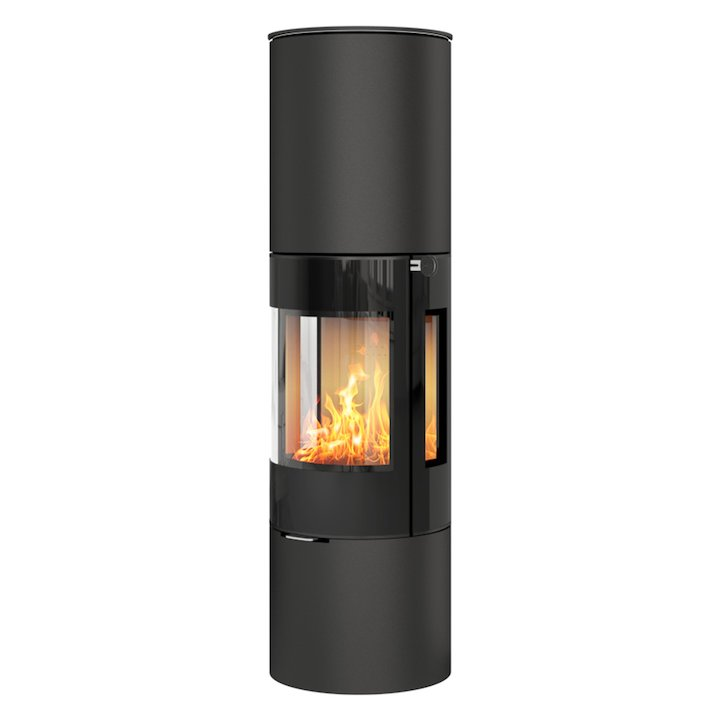 Rais Viva 160L Wood Stove Black Black Glass Framed Door Side Glass Windows - Black