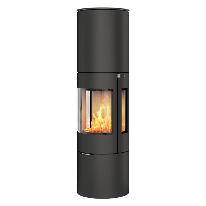 Rais Viva 160L Wood Stove Black Metal Framed Door Side Glass Windows - Black