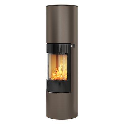 Rais Viva 160L Wood Stove Mocha Black Glass Framed Door Solid Sides