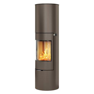 Rais Viva 160L Wood Stove Mocha Metal Framed Door Solid Sides