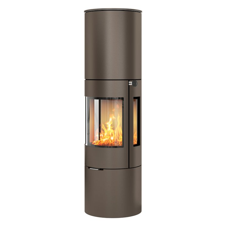 Rais Viva 160L Wood Stove Mocha Metal Framed Door Side Glass Windows - Mocha