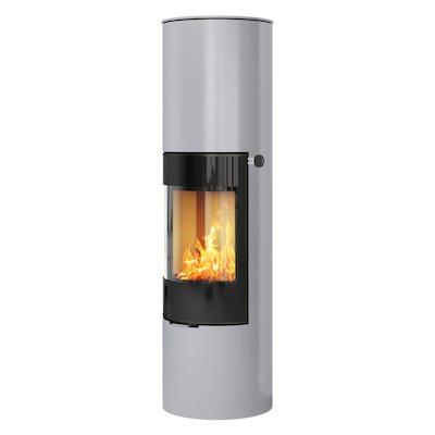 Rais Viva 160L Wood Stove Silver Black Glass Framed Door Solid Sides