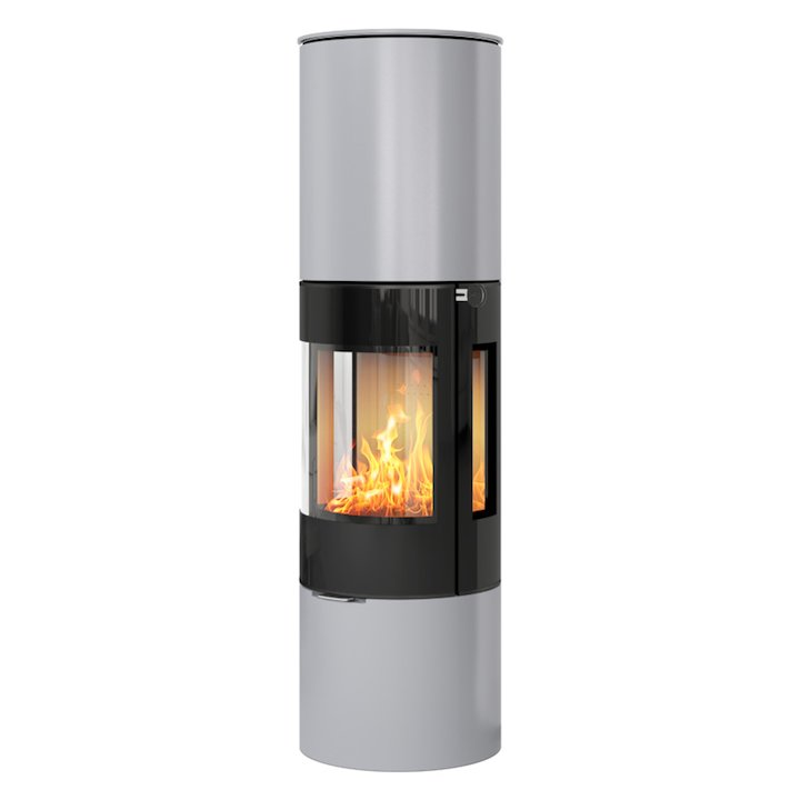 Rais Viva 160L Wood Stove Silver Black Glass Framed Door Side Glass Windows - Silver Filigree