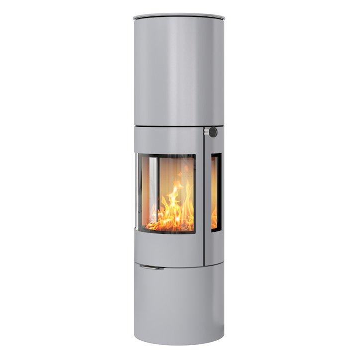Rais Viva 160L Wood Stove Silver Metal Framed Door Side Glass Windows - Silver Filigree