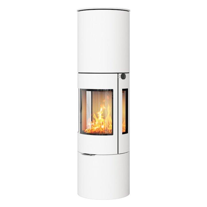 Rais Viva 160L Wood Stove White Metal Framed Door Side Glass Windows - White