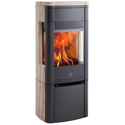 Scan 65 Wood Stove Black/Sandstone Side Glass Windows
